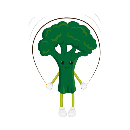 vector flat funny broccoli character jumping at rope. Cheerful humanized vegetable makes exercises with skipping rope. Isolated illustration on a white background. Healthy, sportive lifestyle concept Illustration