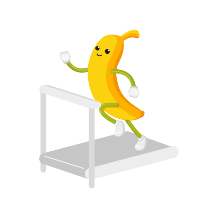 vector flat funny banana character jogging. Cheerful humanized fruit makes cardio exercises, running on treadmill . Isolated illustration on a white background. Healthy, sportive lifestyle concept