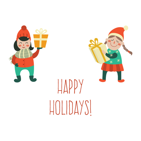 vector cartoon girls character in winter hat keeping present box in hands with smile on his face, happy holidays inscription. Flat illustration on a white background. Christmas, new year birthday gift Illustration