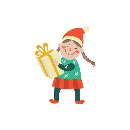 Personaje de niña de dibujos animados de vector en el sombrero de invierno manteniendo la caja presente en las manos con una sonrisa en su rostro. Ilustración plana sobre un fondo blanco. Navidad, año nuevo concepto de regalo de cumpleaños Foto de archivo - 85615330