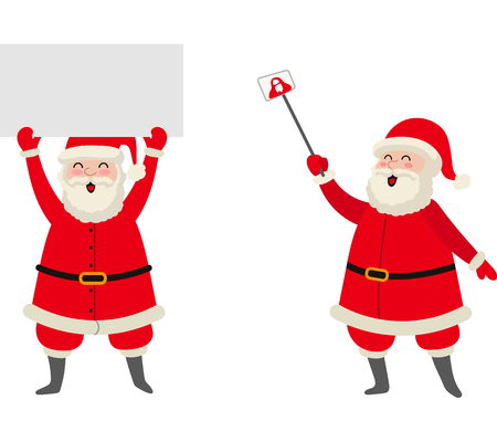 vector flat cartoon Santa Claus in red white christmas clothing and hat keeping blank white paper, another Santa makes selfie by stick set. Illustration isolated on a white background. Illustration