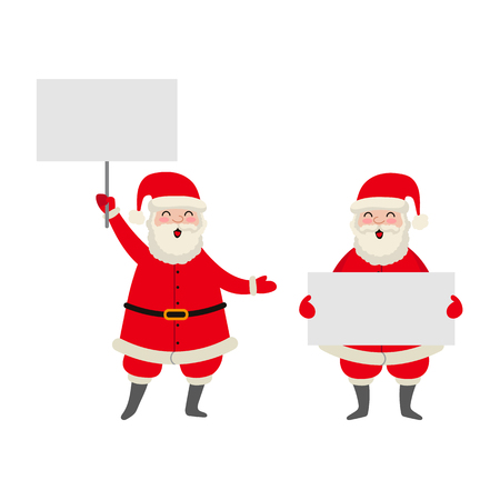 vector flat cartoon Santa Claus in red white clothing and hat keeping blank white paper, placard with free space for a text set. Illustration isolated on a white background. Christmas poster design Stok Fotoğraf - 85615339