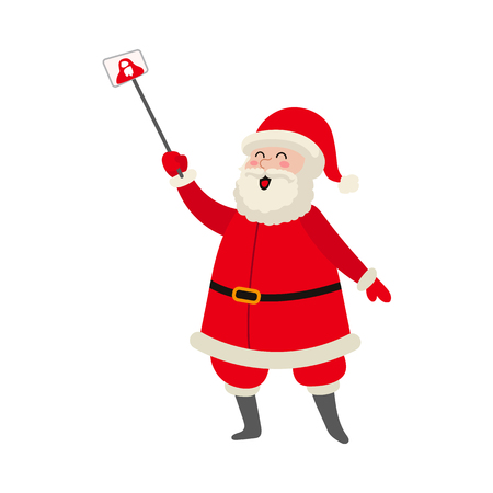 vector flat cartoon Santa Claus standing in red white clothing and hat making selfie by stick. Illustration isolated on a white background. Christmas ,new year poster design