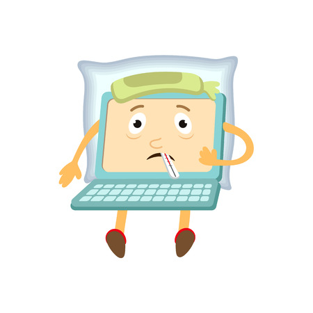 communication cartoon: vector flat cartoon funny laptop humanized male character with arms, legs and face holding termometer in mouth, suffering from headache . Isolated illustration on a white background.