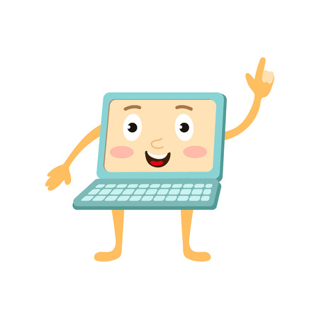 communication cartoon: vector flat cartoon funny laptop humanized male character with arms, legs and face pointing something out by his forefinger . Isolated illustration on a white background. Illustration