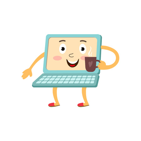 communication cartoon: vector flat cartoon funny laptop humanized character with arms, legs and face holding cup of coffee in hand smiling. Isolated illustration on a white background. Illustration