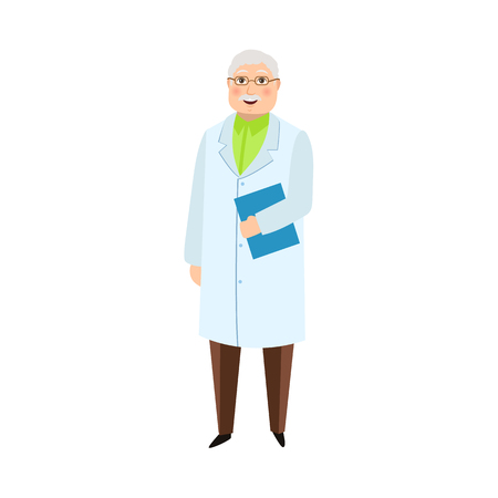 vector flat cartoon adult male grey-haired doctor, head physician in white medical clothing holding clipboard with blank paper smiling. Isolated illustration on a white background.