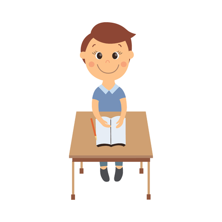vector flat cartoon cute schoolboy character sitting at desk in elementary school smiling. Isolated illustration on a white background. Child education, back to school concept