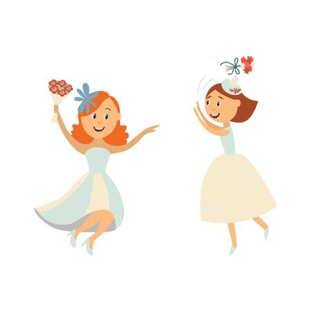 ベクトルのフラット漫画の花嫁ベール空気、別の 1 つは笑みを浮かべて踊る彼女の花束を投げて白いドレスを着ています。白い背景で隔離の図。結  イラスト・ベクター素材