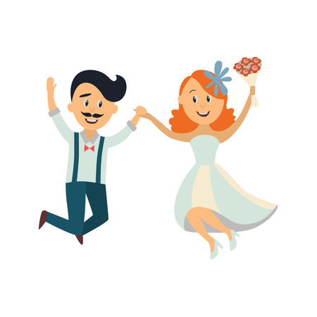 vector groom and bride newlywed couple dancing happily jumping holding each others hands. cartoon illustration isolated on a white background. Wedding concept character design