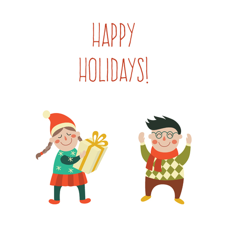 vector kids with present gift set. Boy in glasses raising hands up happily, girl in hat with gift standing smiling. Flat illustration on a white background. Christmas, new year birthday gift concept 向量圖像