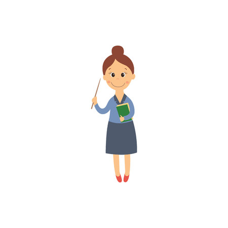 vector flat cartoon cute teacher woman holding textbook and pointer. Isolated illustration on a white background. Child education, back to school concept