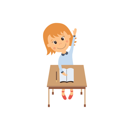 vector flat cartoon cute schoolgirl character sitting at desk in elementary school raising her hand smiling. Isolated illustration on a white background. Child education, back to school concept