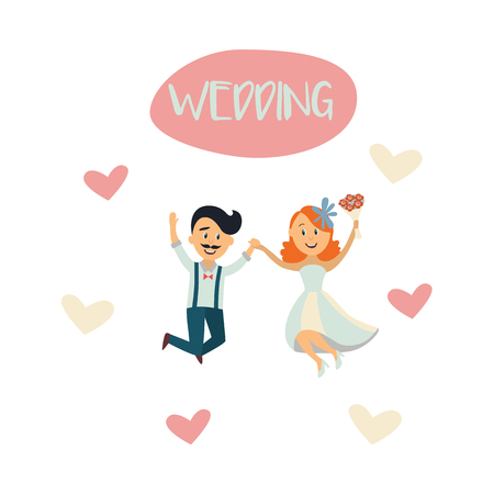 vector groom and bride newlywed couple dancing happily jumping holding each others hands at background of hearts. cartoon illustration isolated on a white background. Wedding concept character design
