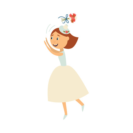 vector flat cartoon bride wearing white dress, veil throwing her bouquet in air smiling. Illustration isolated on a white background. Wedding, marriage concept character design Illustration