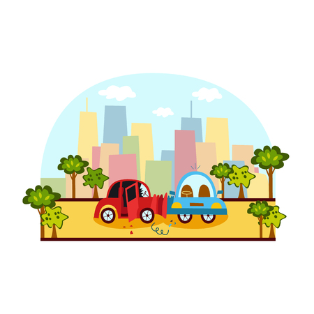 Car accident, side collision on city street, colorful cartoon vector illustration. Side view picture of two cars broken, deformed after collision, car crash on city street, trees and buildings