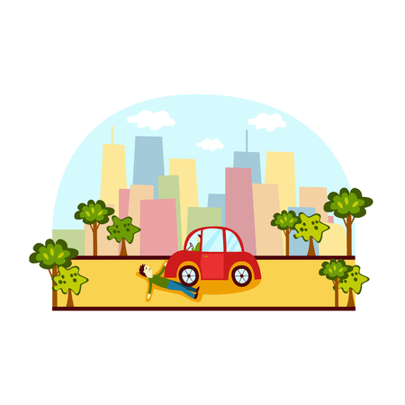 Verkeersongeval, voetgangershit, neergestort met de auto op straat in de stad, zijaanzicht cartoon vectorillustratie. Foto van het zijaanzicht van voetgangers knockdown ongeluk, man geraakt door de auto op straat in de stad, auto-ongeluk