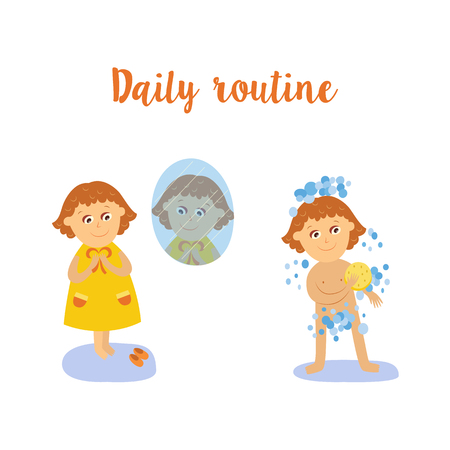 vector flat girl kid doing everyday routine activity set. Child washing by yellow sponge, dressing in jacket and shoes near window. Isolated illustration on a white background. Ilustracja