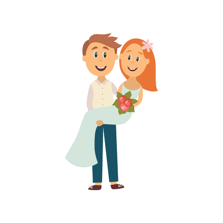 vector flat cartoon groom carrying bride holding her in his arms smiling. Illustration isolated on a white background. Wedding, marriage concept character design