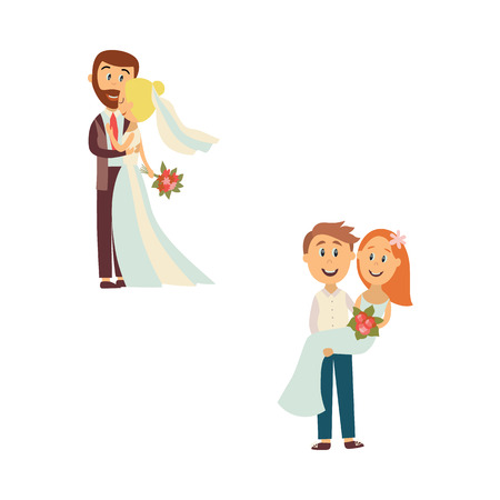 vector flat cartoon groom and bride newlywed couple set. People holding and hugging each other with love and care. Illustration isolated on a white background. Wedding concept character design Illustration
