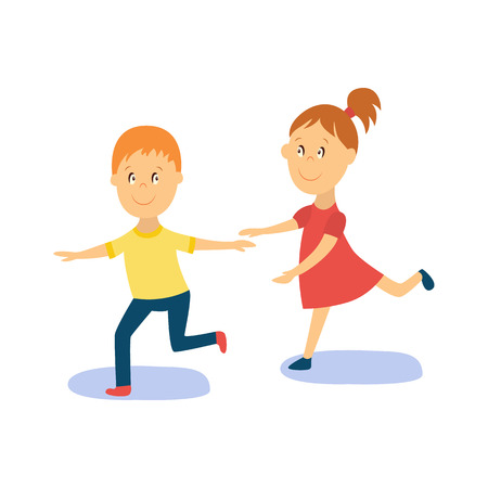 vector flat cartoon boy, girl child dancing in yellow t-shirt smiling. Little dancer male character. Isolated illustration on a white background. Kids party concept