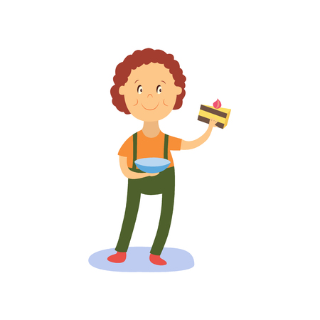 vector flat cartoon boy kid holding plate with tasty delicious piece of cake smiling happily. isolated illustration on a white background. Kids patty concept