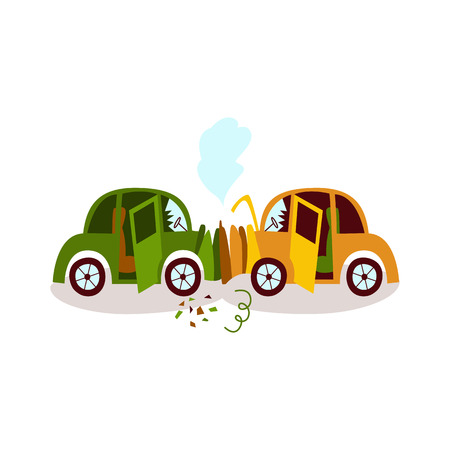 Car accident, head on collision, fender bender, side view cartoon vector illustration isolated on white background. Side view picture of two cars broken, deformed after head on collision, car crash