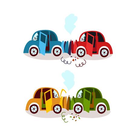 車の事故、追突、フェンダー ベンダー、側面漫画ベクトル図白い背景で隔離の頭。壊れて、2 台の車の変形がヘッドオン、追突、クラッシュします