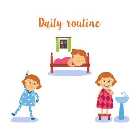 벡터 일상적인 일을 하 고 평면 소녀 아이가 설정합니다. 아이 손을 씻고, 칫 솔 질 하 고, 실제 운동을 하 고, 침대에서 자 고. 흰색 배경에 고립 된 그 일러스트