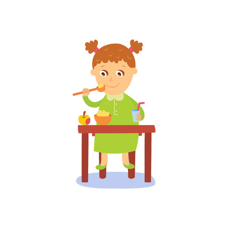 vector flat cartoon girl kid eating apple porridge with drink sitting at baby table from plate, smiling. isolated illustration on a white background. Daily routine concept