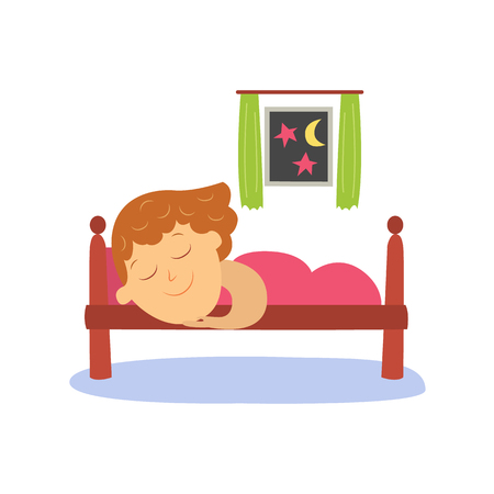 lying in bed: vector flat cartoon girl kid sleeping in her bed under warm blanket happily smiling. Isolated illustration on a white background. Happy child character, daily routine concept.