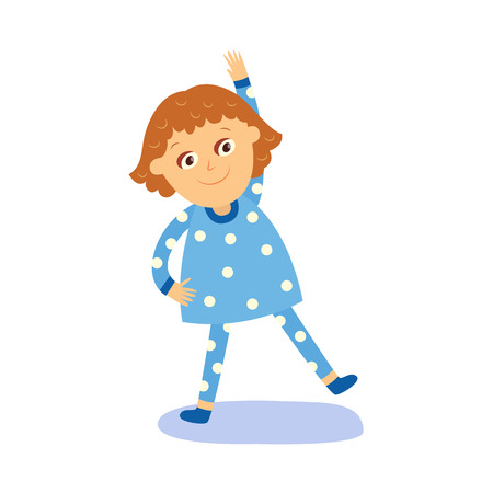 vector flat cartoon girl kid in night blue pajamas making morning gymnastics, physical exercises smiling. isolated illustration on a white background. Daily routine concept