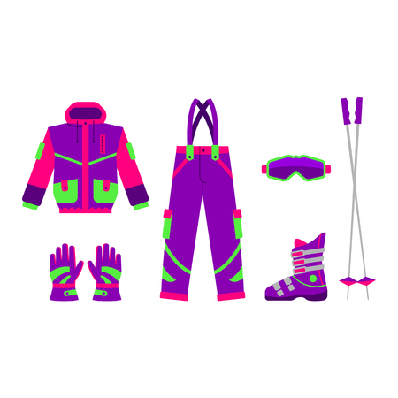 Skiing, hiking, winter sport set - jacket, pants, boot, goggle, gloves, poles flat style vector illustration isolated on white background.