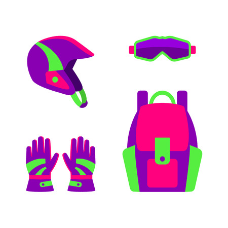 Set of skiing, snowboarding equipment - helmet, boot, gloves and backpack, flat vector illustration isolated on white background. Flat vector skiing, snowboarding helmet, goggles, gloves and backpack