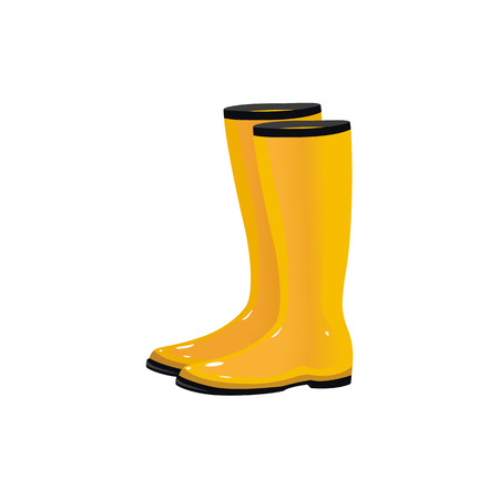 Par de botas de lluvia impermeables amarillas, wellingtons, calzado típico de otoño, ilustración vectorial de dibujos animados aislado sobre fondo blanco. De dibujos animados de estilo amarillo brillante otoño de caucho, botas de lluvia, gumboots Foto de archivo - 85615443