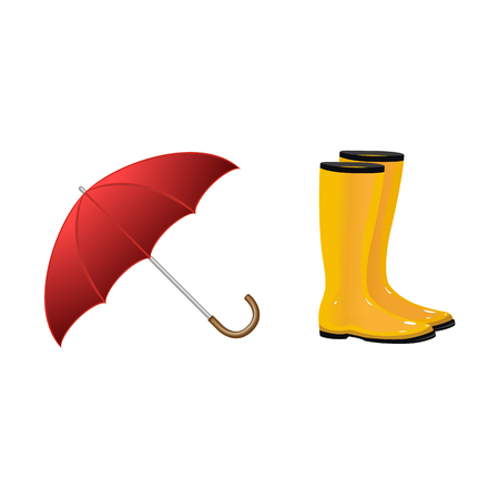 Pair of yellow rain boots, wellingtons and open umbrella, autumn accessories, cartoon vector illustration isolated on white background. Cartoon style rubber, rain boots, gumboots and open umbrella