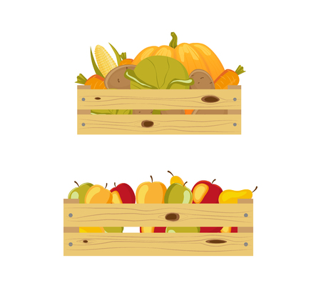 두 개의 나무로되는 저장 상자 - 하나 포장 사과, 다른 포함하는을 야채, 흰색 배경에 고립 된 만화 벡터 일러스트 레이 션. 나무로되는 저장 상자에 사과와 가을 야채 스톡 콘텐츠 - 85615447