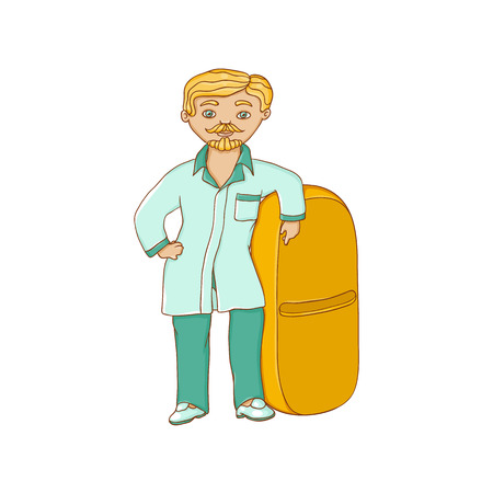 vector flat cartoon male doctor nurce in green medical clothing holding huge big pill drug. Adult man character. Isolated illustration on a white background.