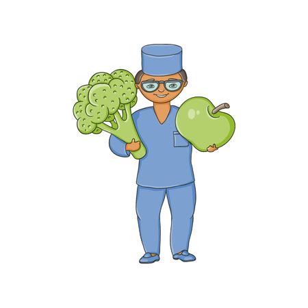ベクトル青医療衣類でフラット漫画男性医師ナース メガネ巨大なビッグ ・ アップルとブロッコリーを保持しています。大人の文字。白い背景に分  イラスト・ベクター素材