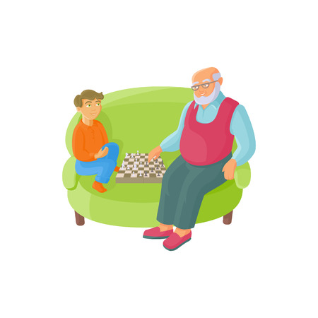 vector flat cartoon grandfather and grandson sitting at armchair playing chess together. Isolated illustration on a white background. Grandparents and children relationship concept