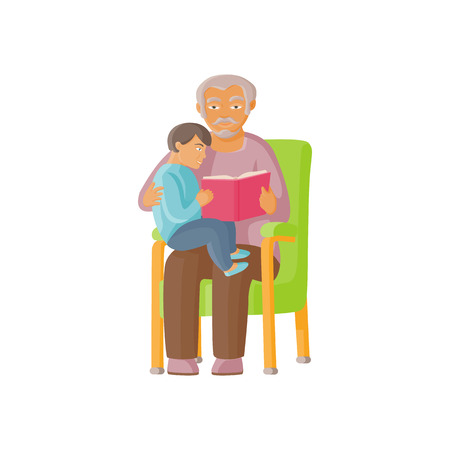 vector flat cartoon grandfather with granddaughter sitting at his knees reading book together. Isolated illustration on a white background. Grandparents and children relationship concept  イラスト・ベクター素材