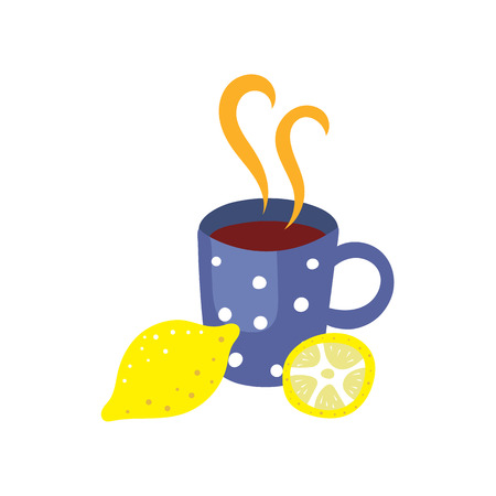 british culture: Vector cup of hot beverage with lemon. Flat, cartoon illustration isolated on a white background. Cold and flu treatment, hot tea, coffee or medicine with steam in blue dotted cup. Illustration