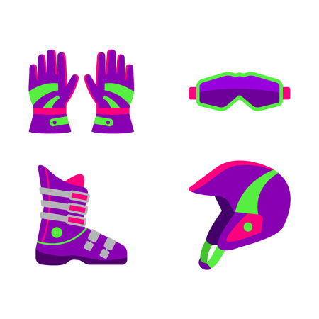 Set of skiing, snowboarding equipment - helmet, boot, goggles, gloves, flat style vector illustration isolated on white background. Flat vector skiing, snowboarding helmet, boot, goggles, gloves Illustration