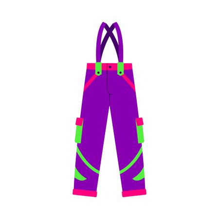 スキー、スノーボードの羽毛のズボンを冬スポーツの衣服、フラット スタイル ベクトル、白い背景で隔離の図です。スキー、スノーボードのズボン
