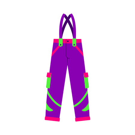 Skiing, snowboarding feather pants, winter sport clothes, flat style vector illustration isolated on white background. Flat vector skiing, snowboarding pants, trousers, colorful illustration