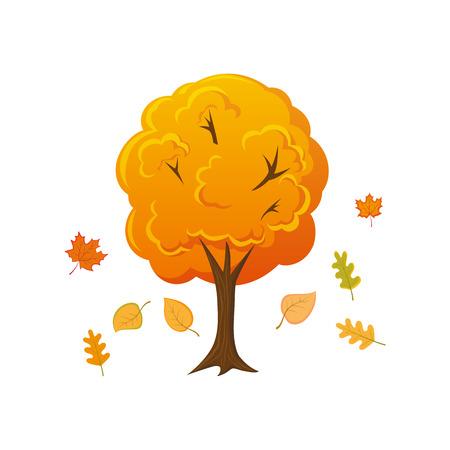 만화 스타일 가을 나무 잎, 흰색 배경에 고립 된 벡터 일러스트 아래로 떨어지고. 만화 가을, 가을 숲, 정원, 낙엽, 낙엽 장식 나무
