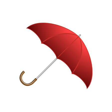 赤い光沢のあるオープン傘、典型的な秋のアクセサリー、白い背景に分離漫画スタイルのベクトルイラスト。漫画のスタイルの赤いオープン光沢の