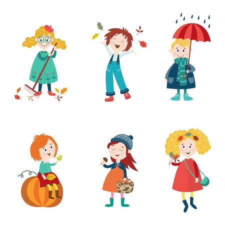 Kids, children enjoy fall, autumn activities - leaves, umbrella, mushroom, pumpkin, flat style cartoon vector illustration isolated on white background. Cartoon kids, boys and girls enjoy autumn, fall 向量圖像