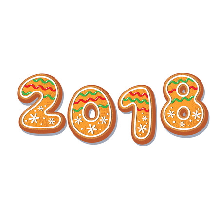 Gingerbread 2018 numbers vector isolated illustration on a white background. New year 2018 baked candy numbers cartoon sweet cake. Traditional winter holiday home treat Çizim