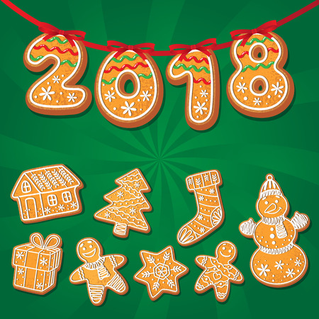 Gingerbread cookies set vector isolated illustration on a green background. New year baked cartoon sweet cake 2018 numbers snowman, spruce tree, gift . Traditional winter holiday home treat Ilustração